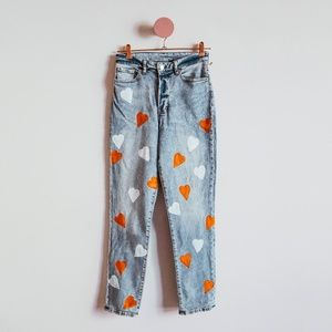 One Of A Kind Painted Hearts Blue Denim Jeans